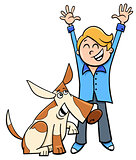 happy boy with dog cartoon illustration