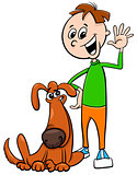 boy with funny dog cartoon illustration