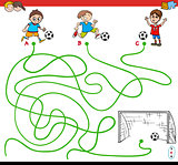 paths maze game with kid and soccer sport