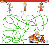 maze with kids and toys educational game