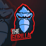 Gorilla Esport Mascot Logo Design vector