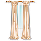 The ornate curtain in the interior. Vector illustration.