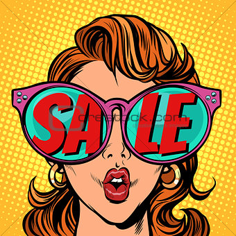Woman with sunglasses. sale in reflection