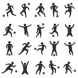 Set stick figures of football players, vector illustration.