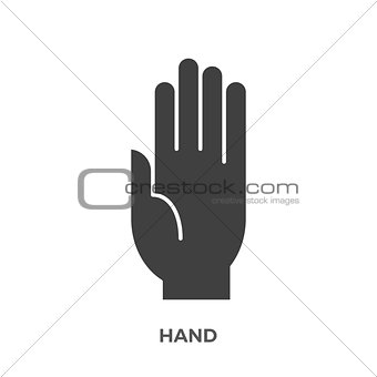 Hand Glyph Vector Icon.
