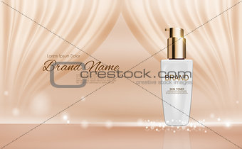 Design Cosmetics Product  Template for Ads or Magazine Background. 3D Realistic Vector Iillustration