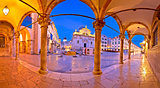 Stradun in Dubrovnik arches and landmarks panoramic view at dawn