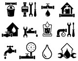 set of pipeline construction icons for plumber work