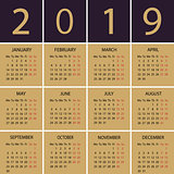 Calendar 2018 year. Week starts with Monday.