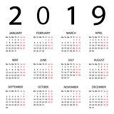 Calendar 2019 year. Week starts with Monday.