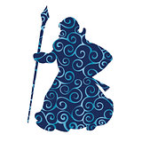 Grandfather frost pattern silhouette new year