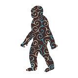 Yeti snow man pattern silhouette legend