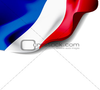 Waving flag of France close-up with shadow on white background. Vector illustration with copy space