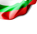 Waving flag of Bulgaria close-up with shadow on white background. Vector illustration with copy space