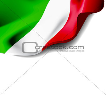 Waving flag of Italy close-up with shadow on white background. Vector illustration with copy space