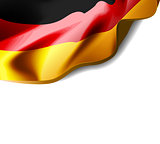 Waving flag of Germany close-up with shadow on white background. Vector illustration with copy space