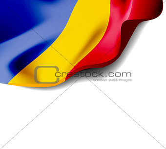 Waving flag of Romania close-up with shadow on white background. Vector illustration with copy space