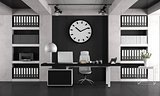 Black and white minimalist office