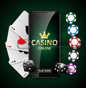 Online Internet casino marketing banner. phone app with dice, poker chips and playing cards. Playing Web poker and gambling casino games. Vector illustration