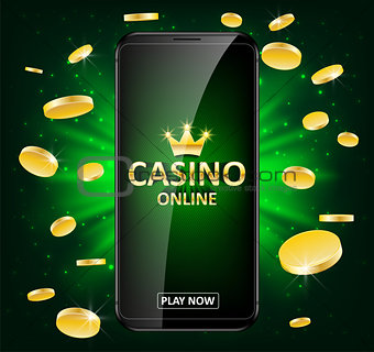 Online Internet casino label with money coins. Casino jackpot winner poster gamble with text. Playing Web poker success concept. Vector illustration