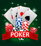 Casino Gambling Poker background design. Poker banner with chips, playing cards and dice. Online Casino Banner on green background. Vector illustration.