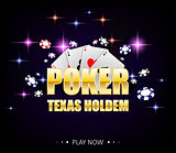 Internet casino banner with glowing lamps for online casino, poker, card games, texas holdem. Poker poster with chips and playing cards. Vector illustration