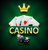 Casino marketing banner with dice and poker cards on green background. Playing jackpot and gambling casino games design. Vector illustration