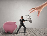 Business man protects financial capital from the tax office fighting with sword and shield. 3D Rendering
