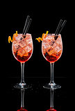 Two cups of Spritz, typical cocktail at the Italian aperitivo.