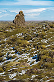 Moss-covered rock outcroppings in the Eldrhaun lava fields of Iceland