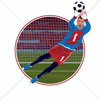 Emblem with goalkeeper catching ball
