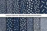 Collection of memphis seamless vector patterns. Fashion 80-90s.