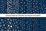 Collection of memphis seamless vector patterns. Fashion design 80-90s.