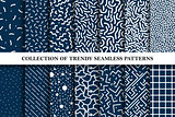 Collection of hand drawn memphis seamless vector patterns. Fashion design 80-90s.