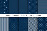Collection of elegant vector patterns - seamless dotted and striped backgrounds