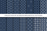 Collection of ornamental seamless vector patterns. Geometric oriental design.