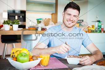 young man breakfast