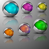 illustration of different colored sphere shaped emblems