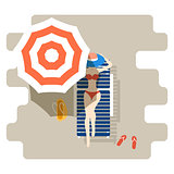 Girl on a chaise-longue under sun umbrella. Sunbathing woman summer illustration.