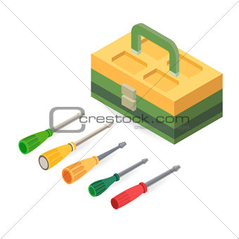 Toolbox and screwdrivers. Isometric construction tools.