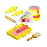 Brush, roller, palette, gloves. Isometric construction tools.