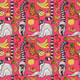 Seamless pattern with cute cartoon lemur, tropical fruit.