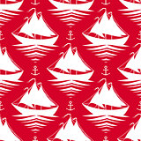 Seamless pattern with sailboats and anchors