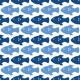 White seamless background with fish