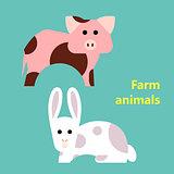 Farm animals pig and rabbit