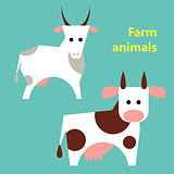 Farm animals cow and goat