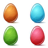 Cartoon four color egg on the white bckground.