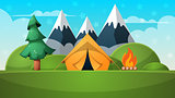 Cartoon summer landscape. Tent, fire, mountain illustration.