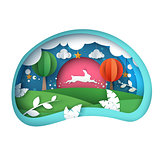 Cartoon paper landscape. Rabbit illustration.