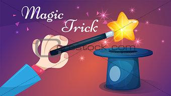 Magic wand, trick - cartoon illustration.